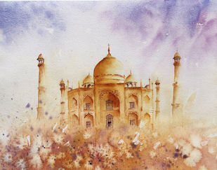 The Taj by Nisha Sehjpal, Image Painting, Watercolor on Paper,