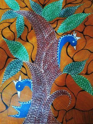Folk Art by Taznin Rahman , Decorative Painting, Acrylic on Acrylic Sheet, Pickled Bean color