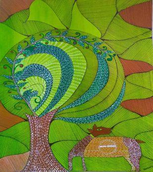 Folk Art by Taznin Rahman , Decorative Painting, Acrylic on Acrylic Sheet, Olive Drab color