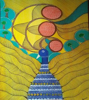 Folk Art by Taznin Rahman , Decorative Painting, Acrylic on Acrylic Sheet, Reef Gold color