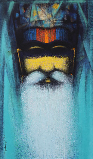 A Sadhu's Reminiscences by Somnath Bothe, Expressionism Painting, Acrylic on Canvas,