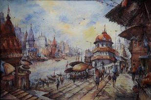 Benaras ghat series-1 by Shubhashis Mandal, Impressionism Painting, Watercolor on Paper,