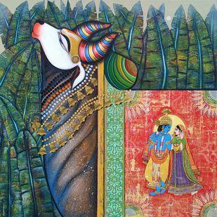 Kamdhenu by Ashok Rathod, Traditional Painting, Acrylic on Canvas,