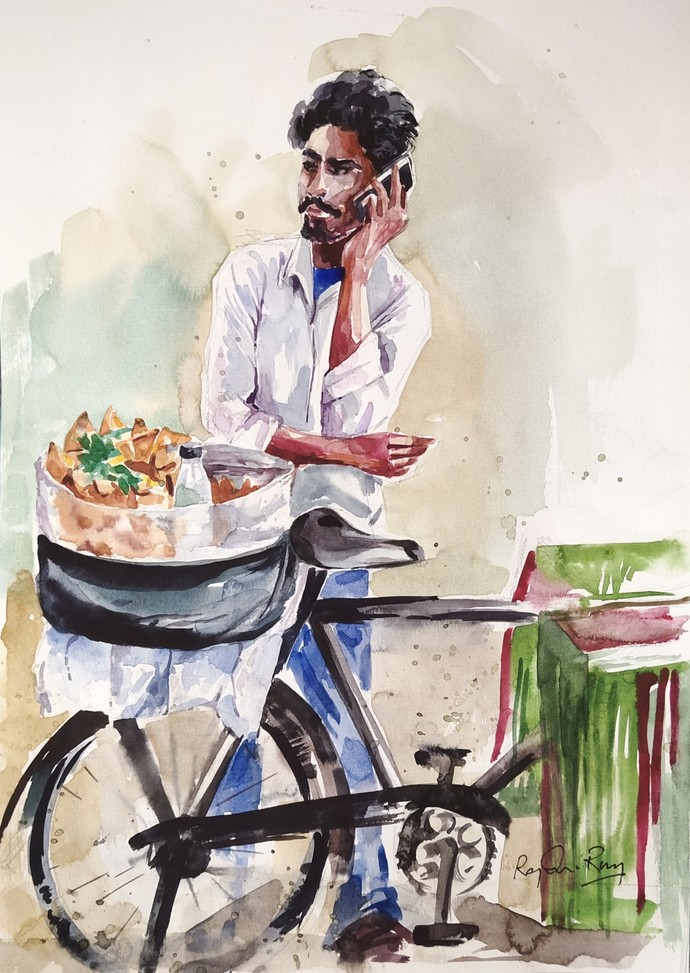 Onion Samosa Vendor, Hyderabad by rajendra ray, Impressionism Painting, Watercolor on Paper,