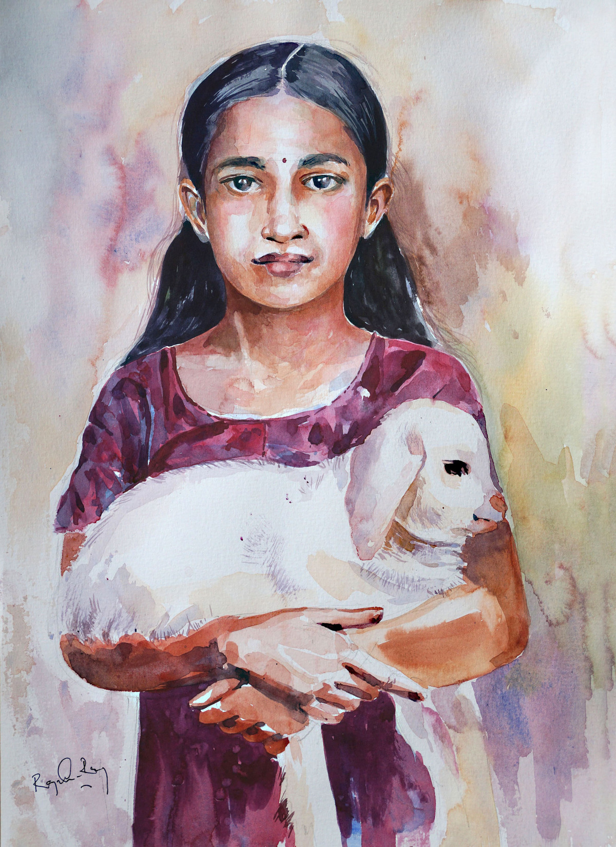 Innocence by rajendra ray, Expressionism Painting, Watercolor on Paper,
