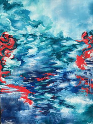 Swept by the Current by Tvesha Singh, Abstract Painting, Acrylic on Canvas,