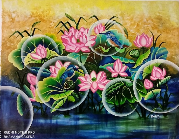 Dream Catcher by Bhavana Saxena, Fantasy Painting, Oil on Canvas,