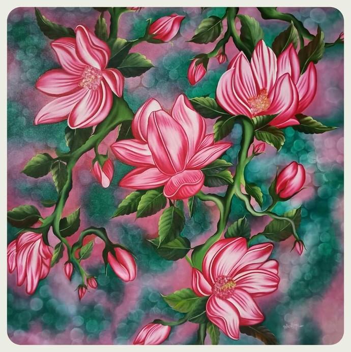 Blooming Dreams Digital Print by Bhavana Saxena,Expressionism