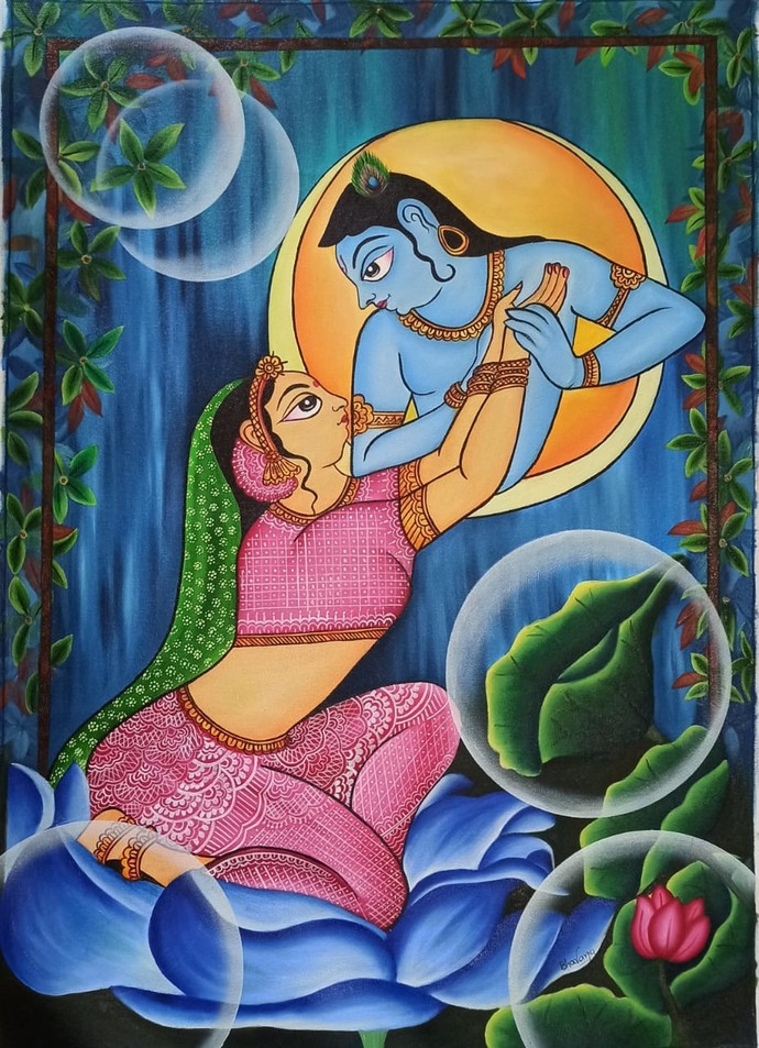 PHAD Painting (Radha Krishan in Moon light) by Bhavana Saxena, Expressionism Painting, Oil on Canvas,