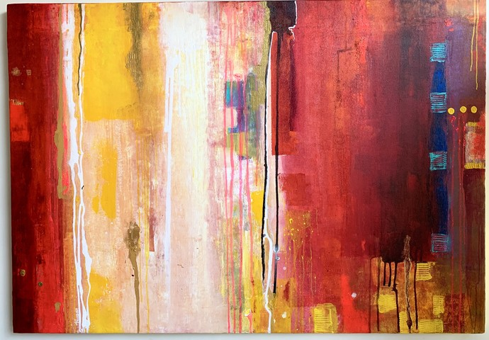 Majestic Passion by Nandini, Abstract Painting, Mixed Media on Canvas,