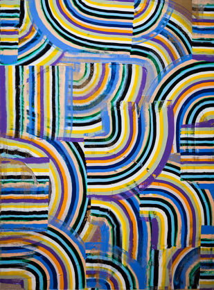Flow by Andrew Strassner, Geometrical Painting, Mixed Media on Canvas,