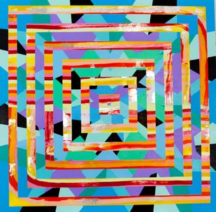 SAN JUNIPERO by Andrew Strassner, Geometrical Painting, Mixed Media on Wood,