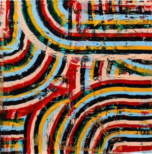 Warm Fuzzy by Andrew Strassner, Geometrical Painting, Mixed Media on Wood,