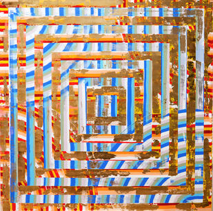 Bread and Roses by Andrew Strassner, Geometrical Painting, Mixed Media on Wood,