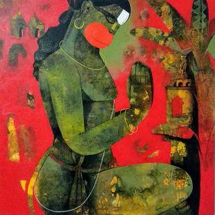 praying hanuma by Appam Raghav, Traditional Painting, Acrylic on Canvas,