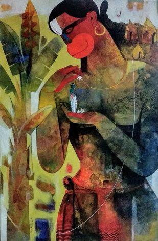 hanuman by Appam Raghav, Expressionism Painting, Acrylic on Canvas,