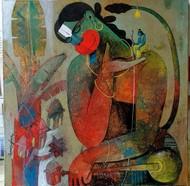 rama hanuman by Appam Raghav, Expressionism Painting, Acrylic on Canvas,