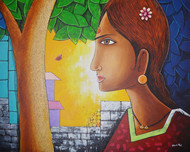 Untitled by santosh patil, Decorative Painting, Acrylic on Canvas,
