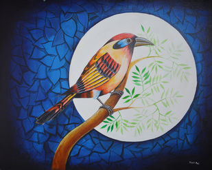 Birds Painting 1005 by santosh patil, Expressionism Painting, Acrylic on Canvas,