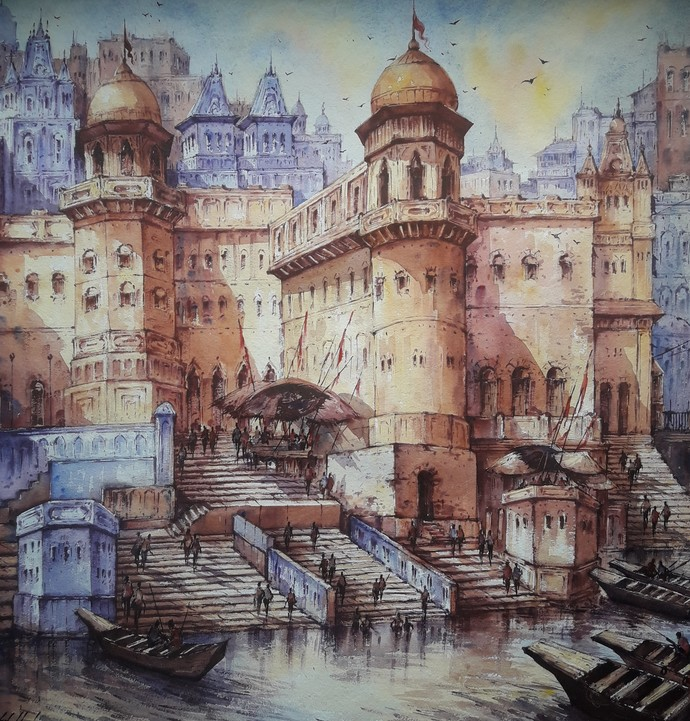The beauty of Varanasi-4 by Shubhashis Mandal, Impressionism Painting, Watercolor on Paper,