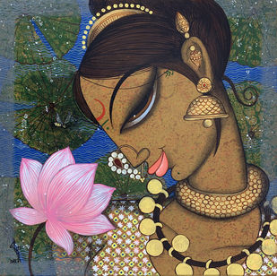 face by Varsha Kharatmal, Expressionism Painting, Acrylic on Canvas,