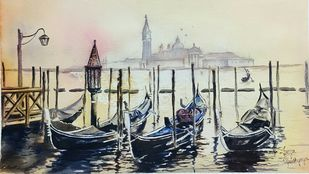 Docked gondolas at Venice by Lasya Upadhyaya, Impressionism Painting, Watercolor on Paper,