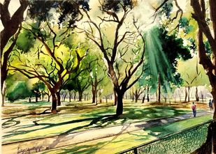 Dappled sun by Lasya Upadhyaya, Impressionism Painting, Watercolor on Paper,