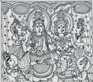 Kalamkari Art by ROHINI, Folk Drawing, Ink on Paper, Iron color