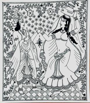 Madhubani Art Radha Krishna by ROHINI, Folk Drawing, Ink on Paper, Iron color