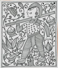Madhubani Art Sweets Seller by ROHINI, Folk Drawing, Ink on Paper, Gray Nurse color