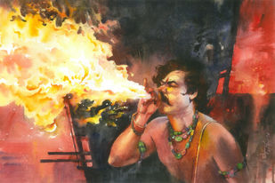 Fire within by Moshe Dayan, Photorealism Painting, Watercolor on Paper,