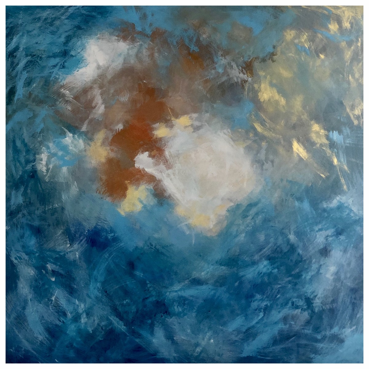 All the Way to the Ocean by Abhishek Singh, Abstract Painting, Acrylic on Canvas,