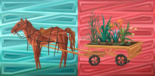 Free Oxygen (diptych) by Nirakar Chowdhury, Expressionism Painting, Acrylic on Canvas,