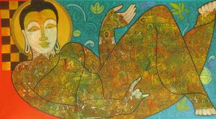 Buddha by Ramesh Gorjala, Traditional Painting, Mixed Media on Canvas,