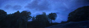 An Evening in Andamans by JEETENDRA KUMAR, Expressionism Painting, Oil on Canvas, Indigo color