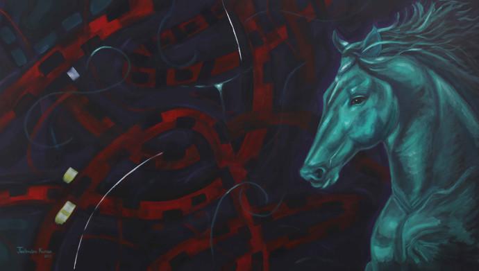 Modern Times-III by JEETENDRA KUMAR, Fantasy Painting, Acrylic on Canvas, Baltic Sea color