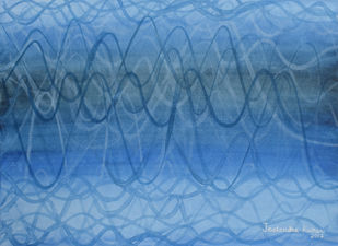 Impulse-I by JEETENDRA KUMAR, Abstract Painting, Watercolor on Paper, Hippie Blue color