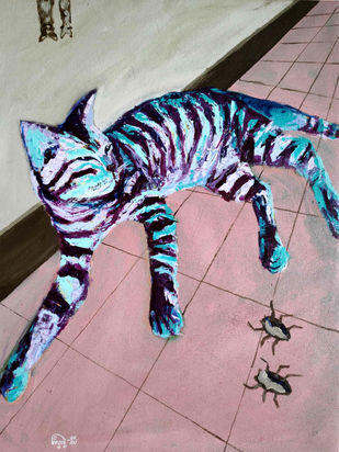 CAT-A-TUILLE- III by Hrishikesh Belgudri, Expressionism Painting, Acrylic on Canvas, Thatch color