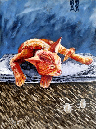 CAT-A-TUILLE- II by Hrishikesh Belgudri, Expressionism Painting, Acrylic on Canvas, Blue Bayoux color