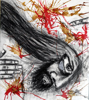 MAN 3.0 by Hrishikesh Belgudri, Expressionism Painting, Charcoal on Paper, Thunder color