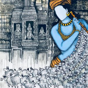 Gopalaya by Mrinal Dutt, Expressionism Painting, Mixed Media on Canvas,