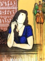 Intezar-eternal wait by Mrinal Dutt, Expressionism Painting, Acrylic on Canvas,