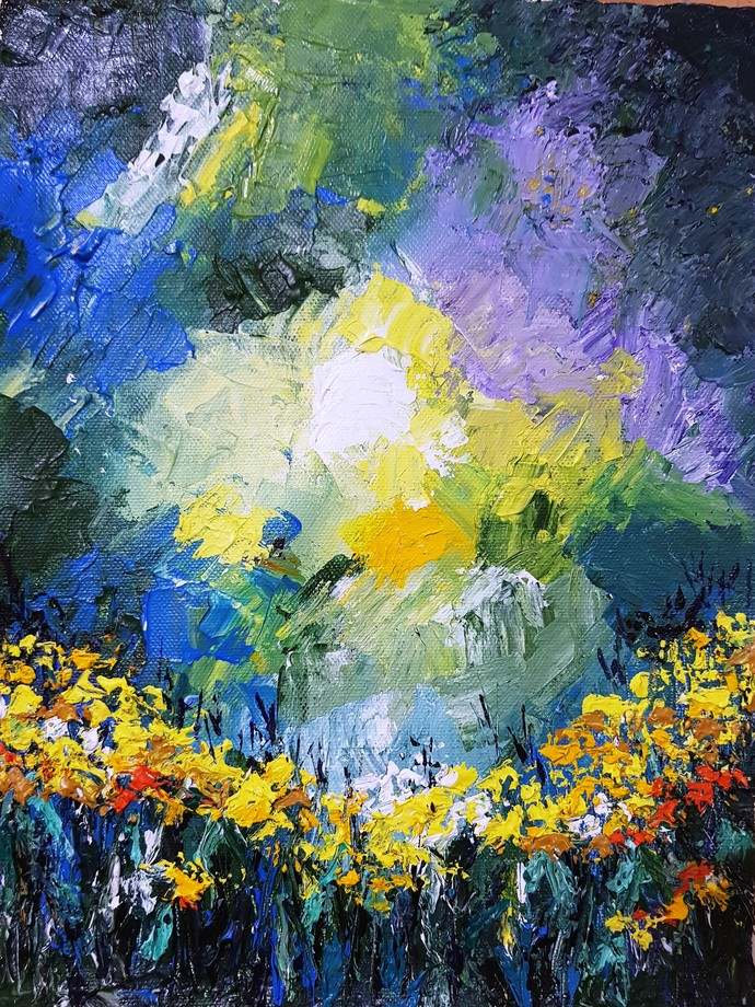 SUNSHINE by Aparna Bhatnagar, Abstract Painting, Acrylic on Canvas,