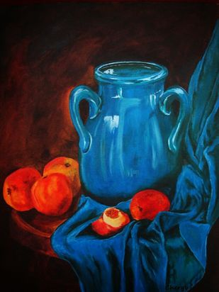 Blue Pitcher by Cheryl Monis, Expressionism Painting, Oil on Canvas,