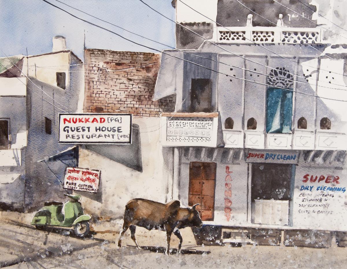 Streets of Udaipur by Mrutyunjaya Dash, Impressionism Painting, Watercolor on Paper,
