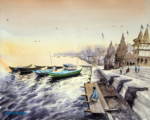 Dusky Banaras Digital Print by Mrutyunjaya Dash,Impressionism