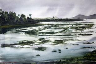 Wet on Wet by Mrutyunjaya Dash, Impressionism Painting, Watercolor on Paper,