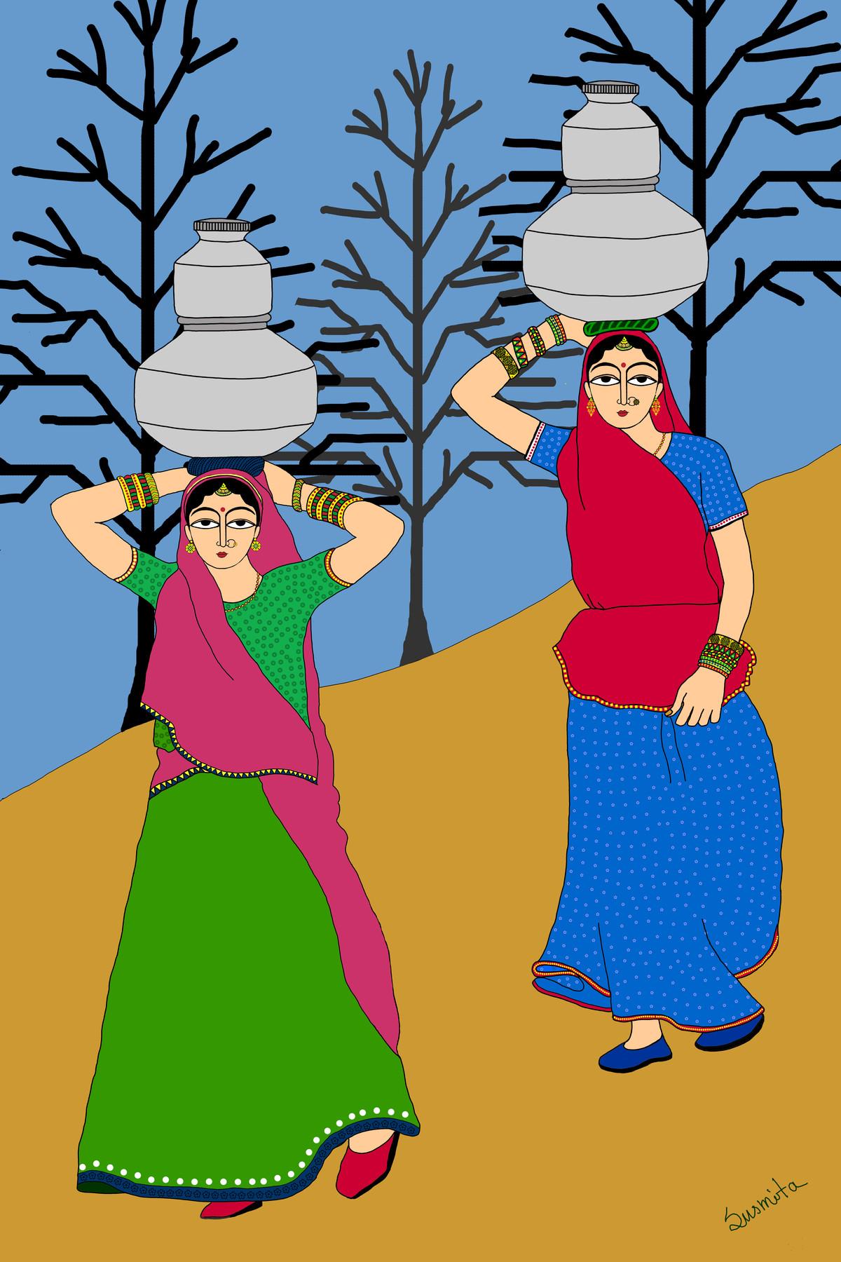 The water wives by Susmita Mishra, Digital Digital Art, Digital Print on Archival Paper,
