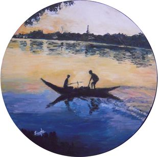 Varanasi River View at Dawn by Simple Mohanty, Expressionism Painting, Oil on Canvas,