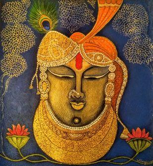 Shrinathji by Vibha Singh, Traditional Painting, Acrylic on Canvas,